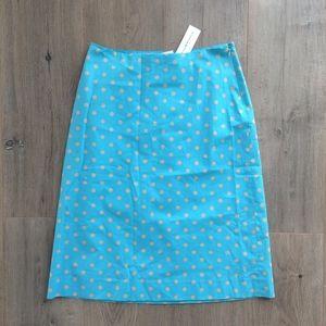 CLUB MONACO Blue Polka Dot Jupe Midi Skirt NWT